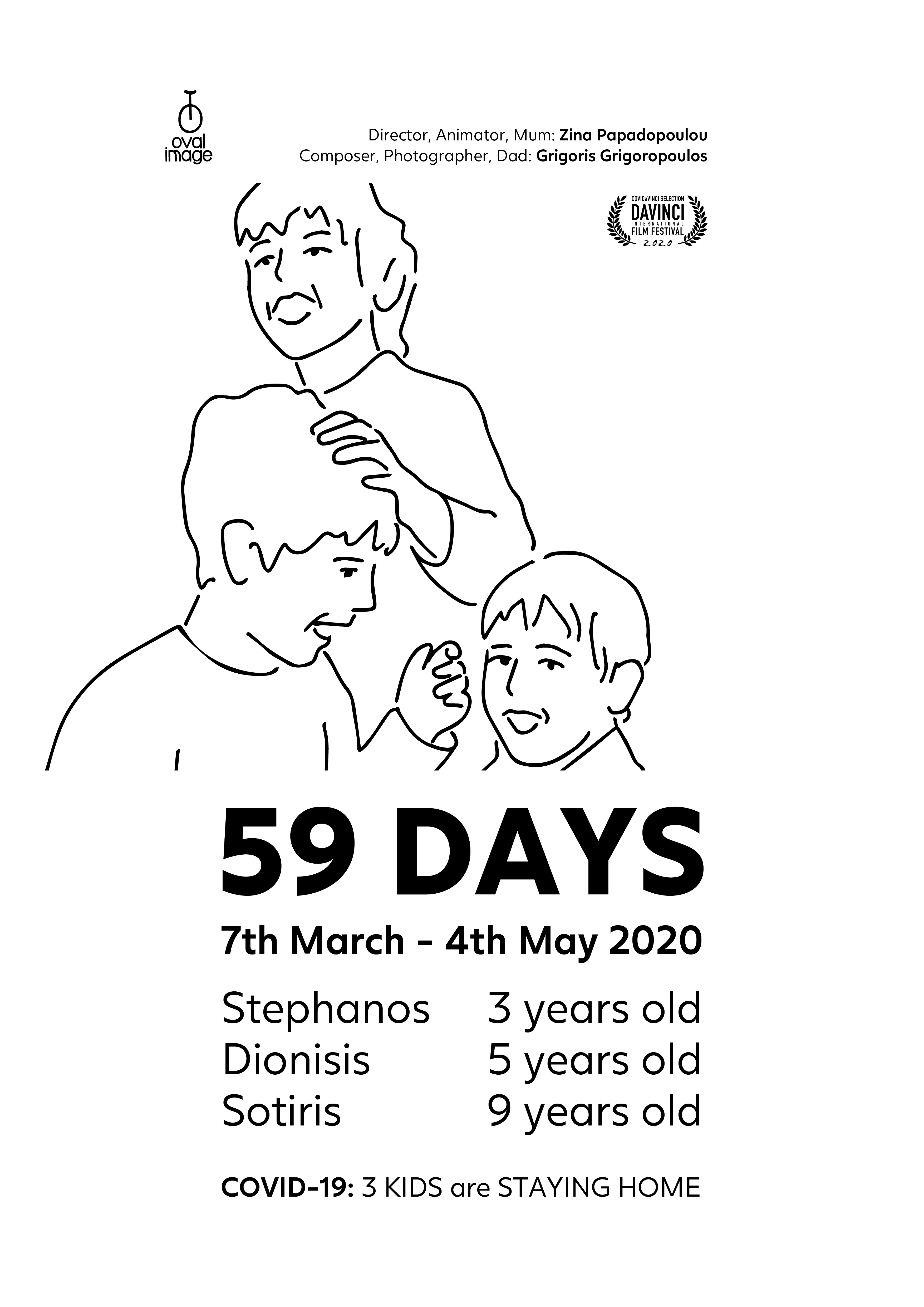59 Days: Poster COVID-19: 3 KIDS are STAYING HOME